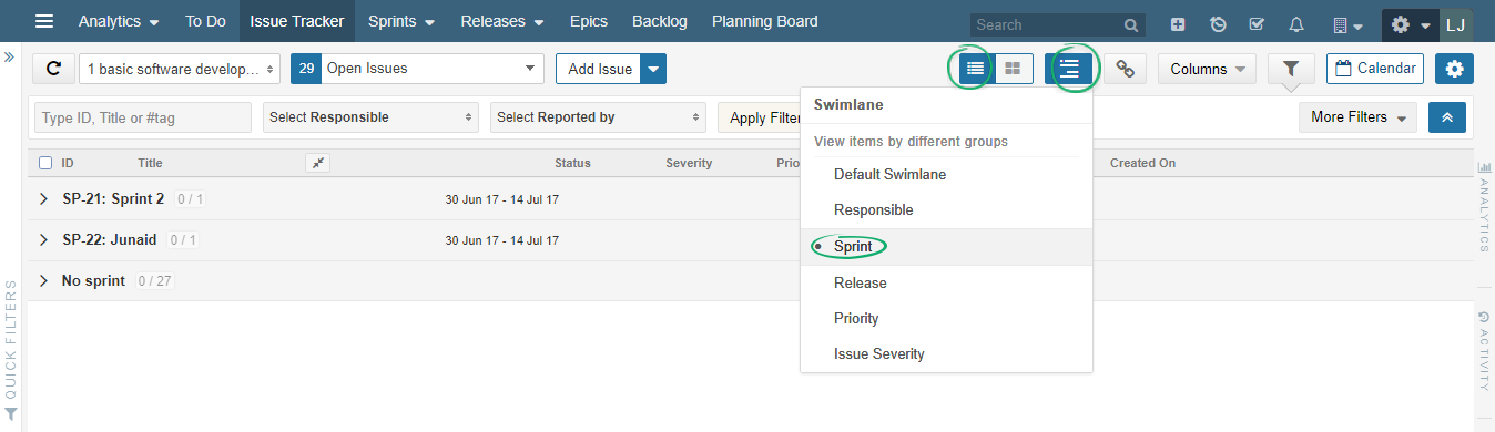 Issue-Tracker-listing-view-now-incorporates-Swimlanes